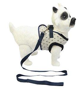 Peitoral com Guia para Cachorro Pelúcia Azul