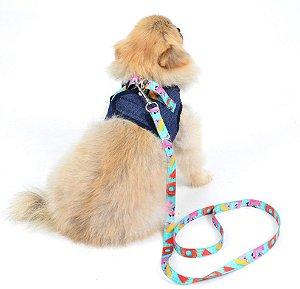 Peitoral com Guia para Cachorro Jeans Summer