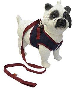 Peitoral com Guia para Cachorro Jeans Poá