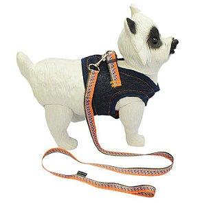 Peitoral com Guia para Cachorro Jeans