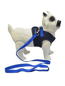 Peitoral com Guia para Cachorro Jeans Astral Azul