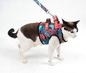 Peitoral com Guia para Gato Tropical