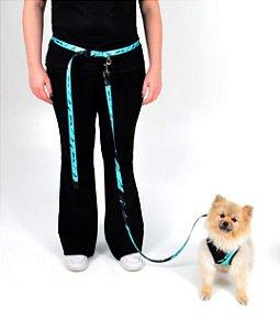 Guia para Cachorro com Cinto de Corrida For Walk Verde Água