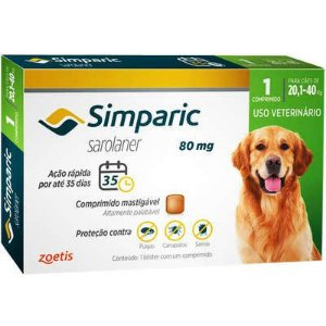 Antipulgas Simparic 80 mg para Cães 20,1 a 40 kg