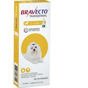 Bravecto Antipulgas e Carrapatos Transdermal para Cães até 4,5 kg