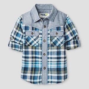 Camisa xadrez azul com detalhe em chambray Genuine Kids by OSHKOSH