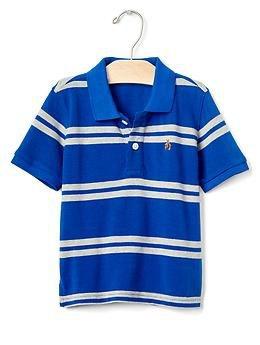 Camiseta gola polo azul com listras cinza - GAP