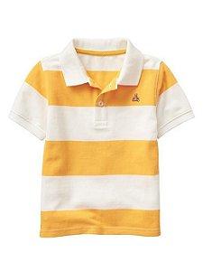 Camiseta gola polo listrada amarelo e branco - GAP