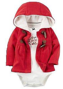 Casaco vermelho flanelado + body manga longa - CARTERS