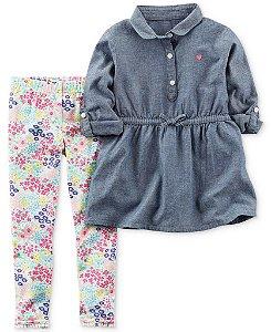 Conjunto 2 peças bata em chambray com calça legging florida - CARTERS