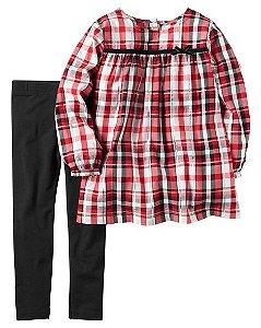 Conjunto 2 peças bata xadrez e calça legging preta - CARTERS