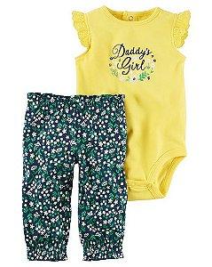 Conjunto 2 peças body amarelo e calça azul marinho florido - CARTERS