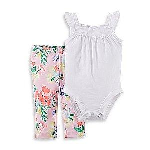 Conjunto 2 peças body branco detalhes na gola com calça rosa florida - CARTERS