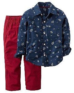 Conjunto 2 peças camisa azul marinho estampada e calça vinho em sarja - CARTERS