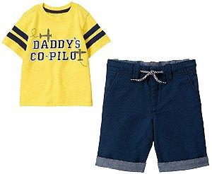 Conjunto 2 peças camiseta amarela com bermuda azul marinho - GYMBOREE