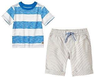 Conjunto 2 peças camiseta azul listrada com bermuda - CRAZY8