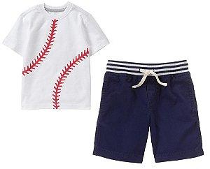 Conjunto 2 peças camiseta estampa Beisebol com bermuda azul marinho - GYMBOREE