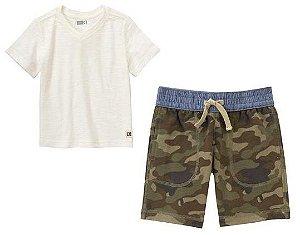 Conjunto 2 peças camiseta gola V off white com bermuda camuflada - CRAZY8