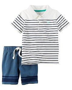 Conjunto 2 peças camiseta polo listrada e short azul - CARTERS