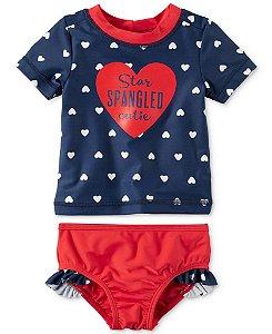 Conjunto 2 peças com proteção UV 50+ azul marinho e vermelho Coração - CARTERS