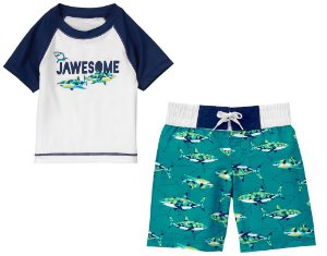Conjunto 2 peças com proteção UV 50+ Tubarões - CRAZY8