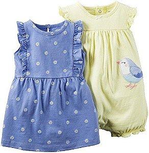 Conjunto 2 peças romper amarelo Passarinho e vestido azul - CARTERS