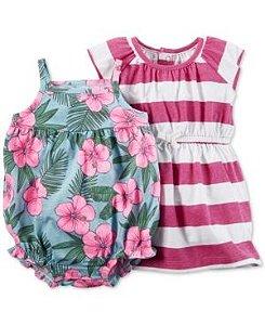 Conjunto 2 peças romper azul florido e vestido rosa listrado - CARTERS