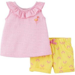 Conjunto 2 peças rosa e amarelo Flamingo Child of Mine made by CARTERS
