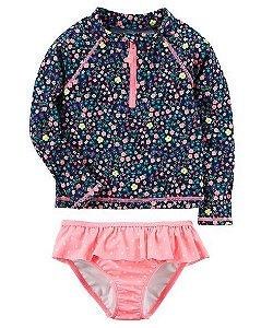 Conjunto 2 peças rosa e azul marinho florido com proteção UV50+ - CARTERS