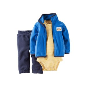 Conjunto 3 peças azul e amarelo casaco e calça em fleece - CARTERS
