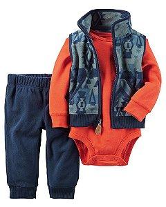 Conjunto 3 peças azul marinho e laranja com colete e calça em fleece - CARTERS