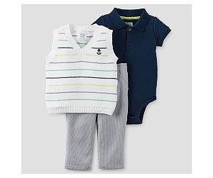 Conjunto 3 peças body polo azul marinho, colete em tricô e calça listrada Just one You made by CARTERS