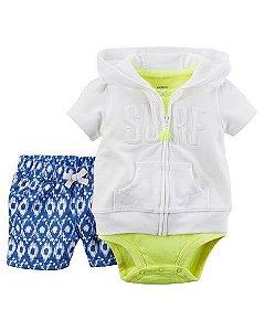 Conjunto 3 peças body regata com casaquinho manga curta branco - CARTERS
