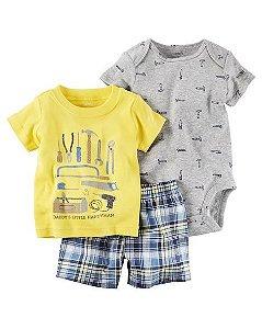 Conjunto 3 peças camiseta amarela e short xadrez azul - CARTERS