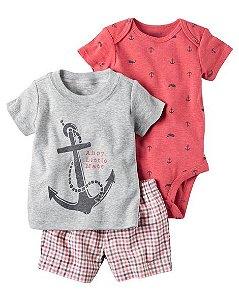 Conjunto 3 peças camiseta cinza e short xadrez ÂNCORA - CARTERS
