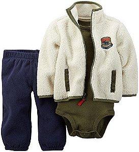 Conjunto 3 peças casaco creme e calça azul marinho em fleece - CARTERS