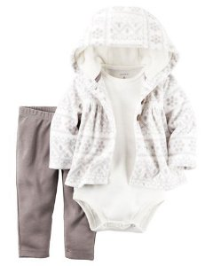 Conjunto 3 peças casaco em fleece branco estampado e calça legging  - CARTERS