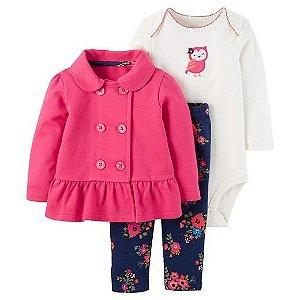 Conjunto 3 peças casaco pink e calça azul marinho florida Just one You made by CARTERS