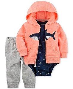 Conjunto 3 peças casaco Tubarão e calça cinza - CARTERS