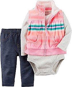 Conjunto 3 peças colete em fleece com body cinza e calça imita jeans - CARTERS