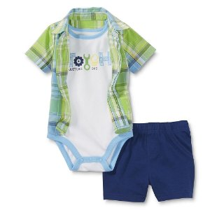 Conjunto 3 peças com body branco, camisa xadrez verde e azul e short azul marinho - WONDERS