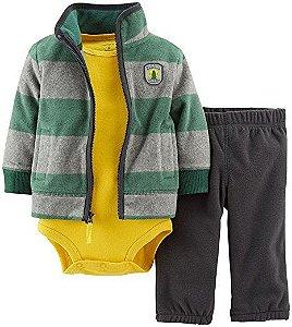 Conjunto 3 peças com casaco e calça em fleece verde e cinza e body amarelo - CARTERS