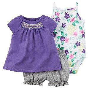 Conjunto 3 peças lilás florido - CARTERS