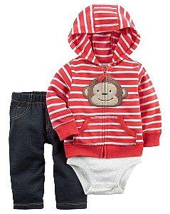 Conjunto 3 peças Macaquinho calça imita jeans - CARTERS