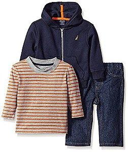 Conjunto 3 peças moletom flanelado, camiseta manga longa e calça jeans - NAUTICA