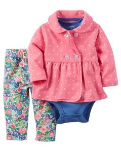 Conjunto 3 peças rosa e azul com calça legging florida - CARTERS