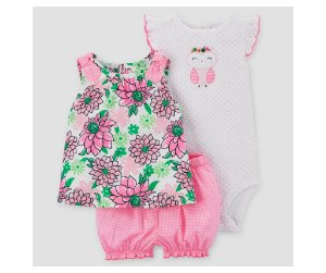 Conjunto 3 peças rosa floral Corujinha Just one You made by CARTERS