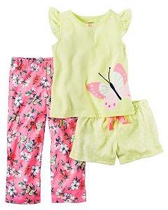 Conjunto pijama 3 peças amarelo e rosa Borboleta - CARTERS