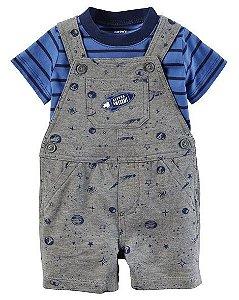 Jardineira cinza Espacial com camiseta azul listrada - CARTERS