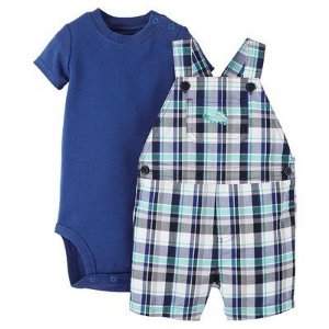 Jardineira xadrez com body azul Just one You made by CARTERS